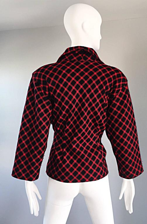 Emanuel Ungaro Vintage 1980s does 1940s Red and Black Plaid Wasp Waist Jacket 8 4