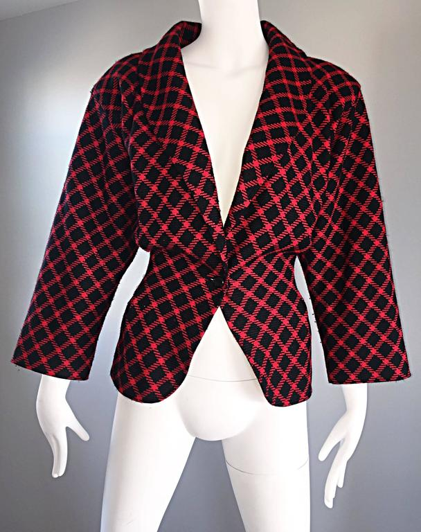 Emanuel Ungaro Vintage 1980s does 1940s Red and Black Plaid Wasp Waist Jacket 8 For Sale 1