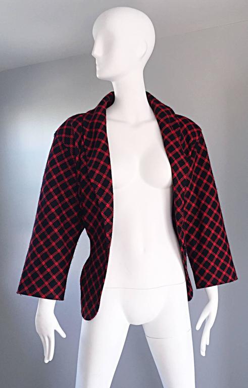 Emanuel Ungaro Vintage 1980s does 1940s Red and Black Plaid Wasp Waist Jacket 8 For Sale 2