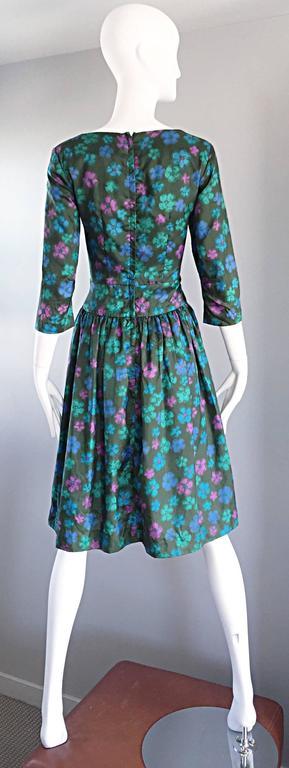 Carole King Vintage 1950s Green Watercolor Floral Silk 3 4