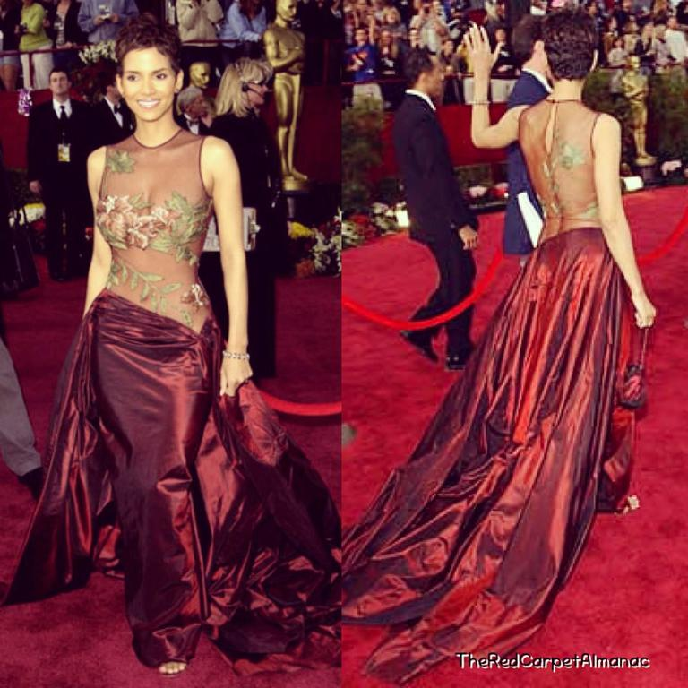 Halle Berry's Iconic Elie Saab 2002 Oscar Gown Taupe Silk Embroidered Taffeta 2