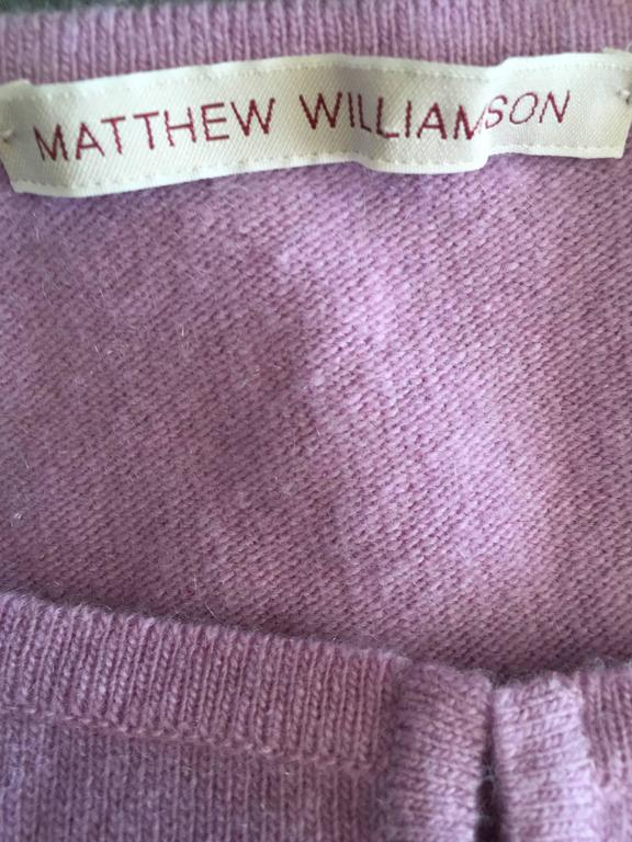 Mathew Williamson Whimsical Lilac Purple Cashmere 3/4 Sleeve Cropped Cardigan  For Sale 4