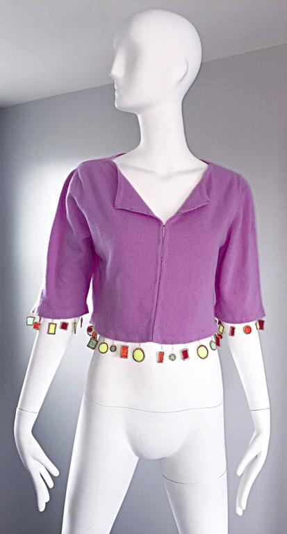 Mathew Williamson Whimsical Lilac Purple Cashmere 3/4 Sleeve Cropped Cardigan  In Excellent Condition For Sale In San Francisco, CA