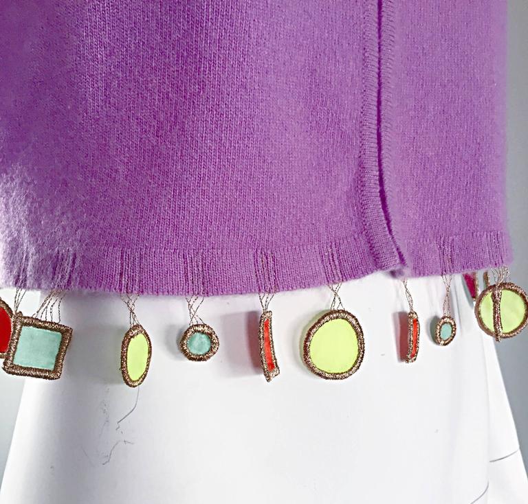 Mathew Williamson Whimsical Lilac Purple Cashmere 3/4 Sleeve Cropped Cardigan  4
