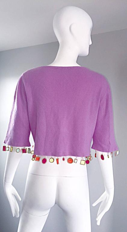 Mathew Williamson Whimsical Lilac Purple Cashmere 3/4 Sleeve Cropped Cardigan  For Sale 1