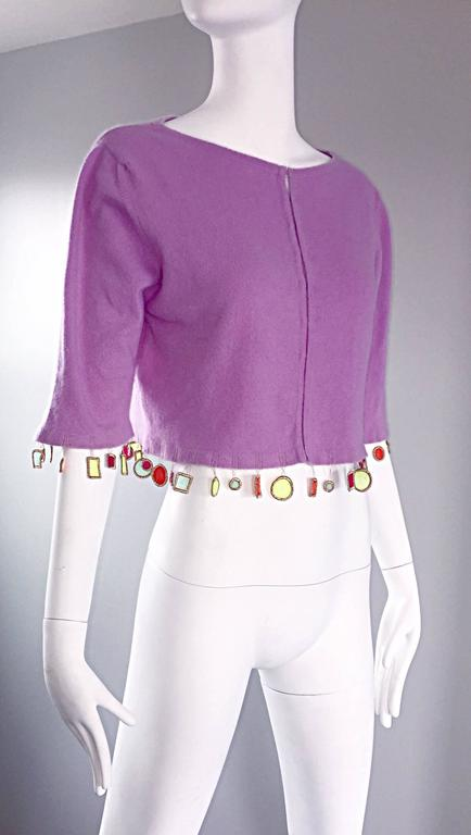 Mathew Williamson Whimsical Lilac Purple Cashmere 3/4 Sleeve Cropped Cardigan  For Sale 2