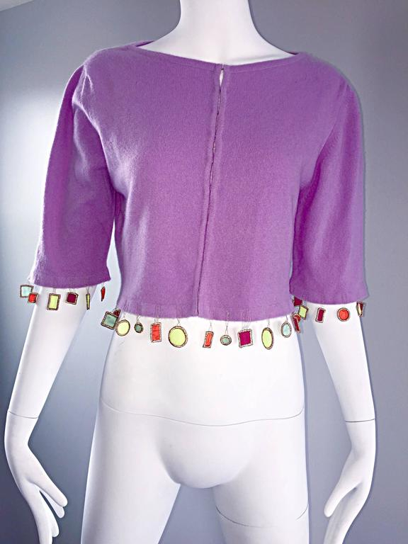 Mathew Williamson Whimsical Lilac Purple Cashmere 3/4 Sleeve Cropped Cardigan  For Sale 3