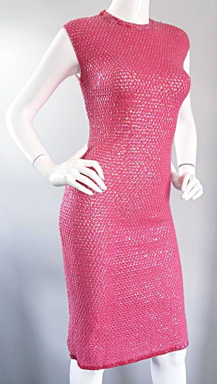 1950s Hot Pink Vintage Sequin Irridescent Allover Sequin Crochet Wiggle Dress For Sale 3