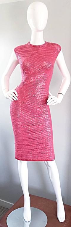 1950s Hot Pink Vintage Sequin Irridescent Allover Sequin Crochet Wiggle Dress For Sale 6