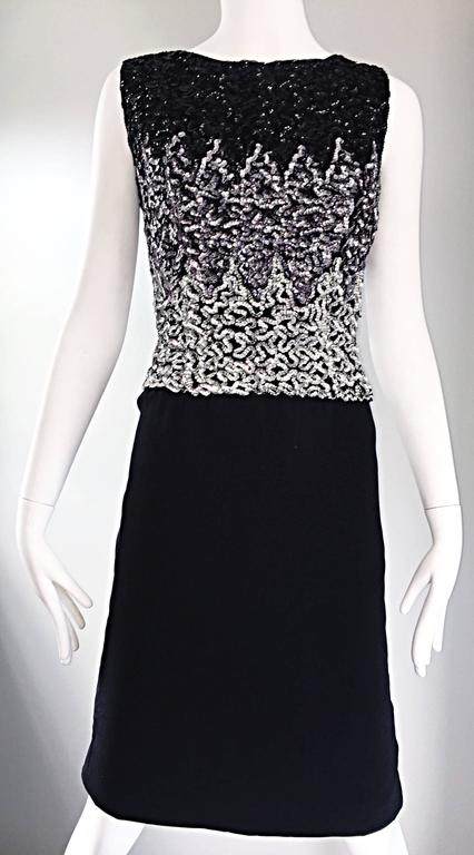 Beautiful Vintage 1950s Black and Silver Sequined Crepe 50s Wiggle Shift Dress  For Sale 3