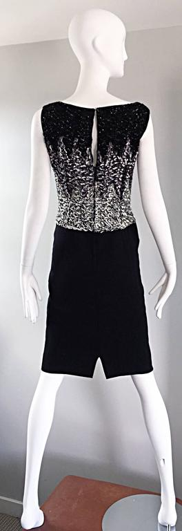 Women's Beautiful Vintage 1950s Black and Silver Sequined Crepe 50s Wiggle Shift Dress  For Sale
