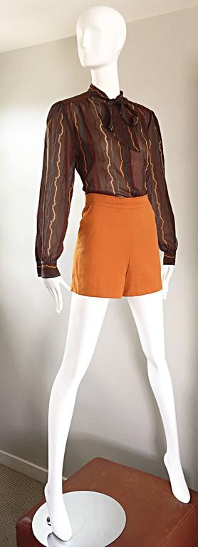 Brown Vintage Mondi 1980s Taupe Semi Sheer ' Sgwiggle ' Pussycat Bow 80s Silk Blouse For Sale