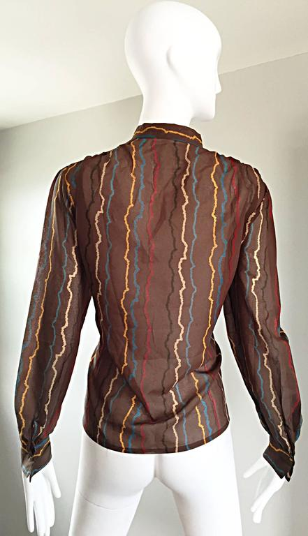 Vintage Mondi 1980s Taupe Semi Sheer ' Sgwiggle ' Pussycat Bow 80s Silk Blouse 5