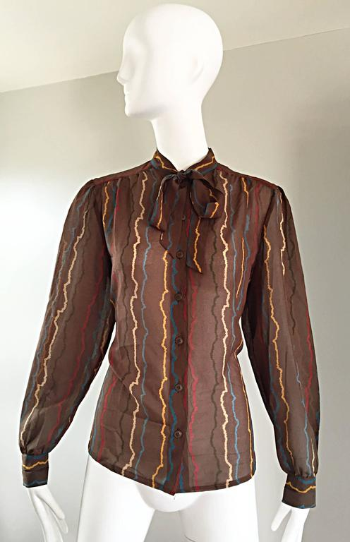 Vintage Mondi 1980s Taupe Semi Sheer ' Sgwiggle ' Pussycat Bow 80s Silk Blouse 9