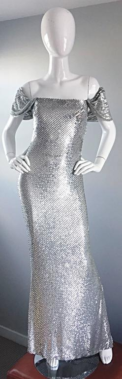 NWT Vintage Bill Blass Couture $7,250 Fully Sequined Silver Silk Grecian Gown  2