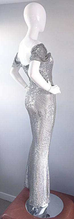 NWT Vintage Bill Blass Couture $7,250 Fully Sequined Silver Silk Grecian Gown  3