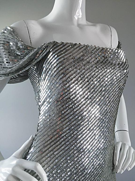 NWT Vintage Bill Blass Couture $7,250 Fully Sequined Silver Silk Grecian Gown  4