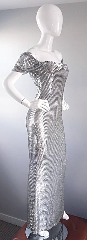 NWT Vintage Bill Blass Couture $7,250 Fully Sequined Silver Silk Grecian Gown  5