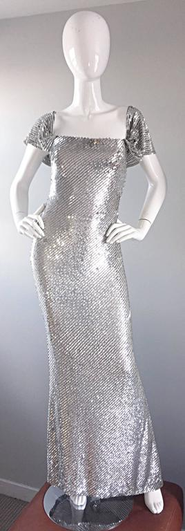 NWT Vintage Bill Blass Couture $7,250 Fully Sequined Silver Silk Grecian Gown  6