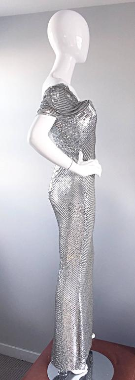 NWT Vintage Bill Blass Couture $7,250 Fully Sequined Silver Silk Grecian Gown  7