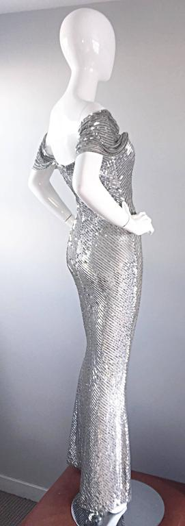 NWT Vintage Bill Blass Couture $7,250 Fully Sequined Silver Silk Grecian Gown  8