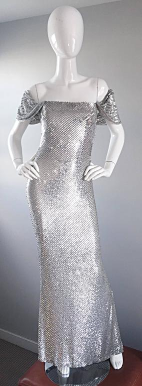 NWT Vintage Bill Blass Couture $7,250 Fully Sequined Silver Silk Grecian Gown  9