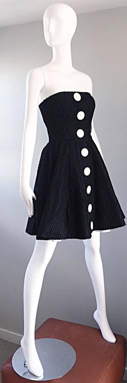 Vintage Christian Lacroix Black and White Fit n' Flare Strapless Button Dress  3