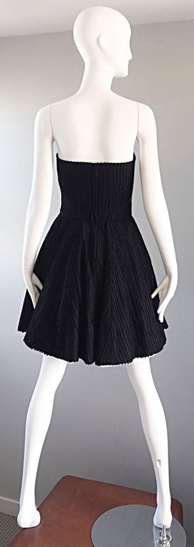 Vintage Christian Lacroix Black and White Fit n' Flare Strapless Button Dress  For Sale 1