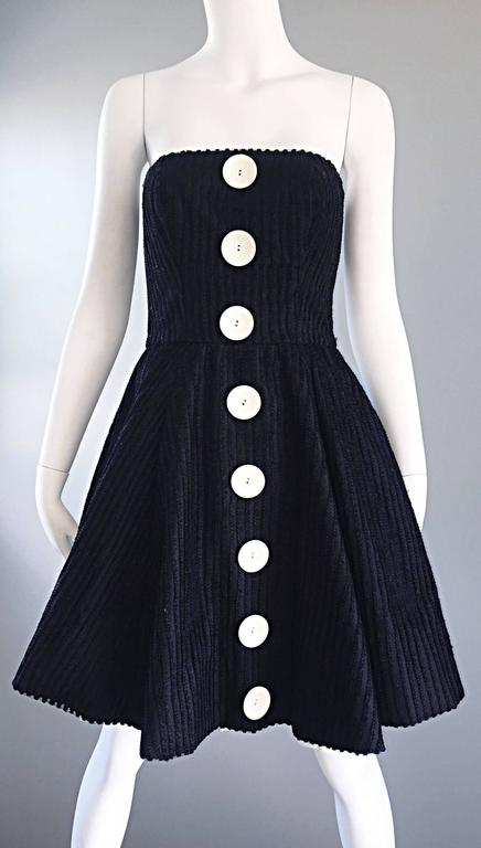 Vintage Christian Lacroix Black and White Fit n' Flare Strapless Button Dress  6