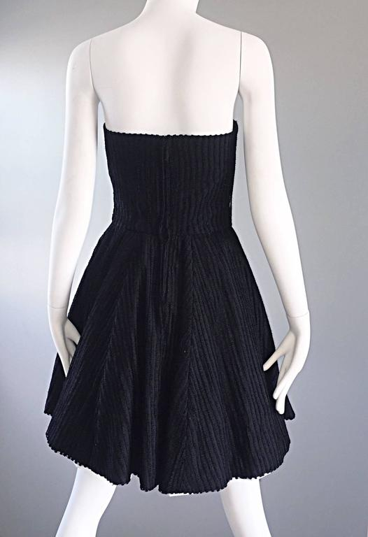 Vintage Christian Lacroix Black and White Fit n' Flare Strapless Button Dress  For Sale 3