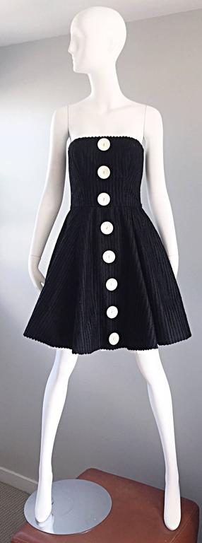 Vintage Christian Lacroix Black and White Fit n' Flare Strapless Button Dress  For Sale 5