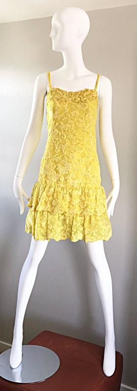 Amazing vintage JAMES GALANOS vintage canary yellow dress AND blouse / jacket! Features silk velvet burn out throughout. Drop waist dress, with a fitted bodice, and two layers of Ruffles at the hem. Long sleeve lightweight blouse features chic