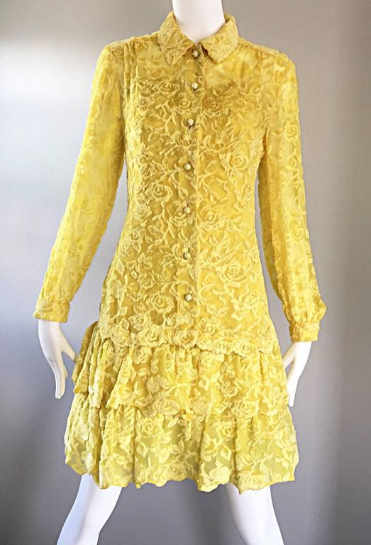 James Galanos Vintage Canary Yellow Silk + Velvet Burn Out Dress and Blouse  In Excellent Condition For Sale In Chicago, IL