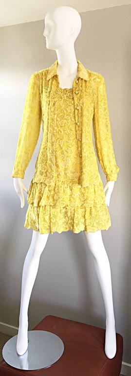 Women's James Galanos Vintage Canary Yellow Silk + Velvet Burn Out Dress and Blouse  For Sale