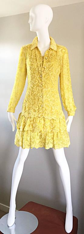James Galanos Vintage Canary Yellow Silk + Velvet Burn Out Dress and Blouse  For Sale 1