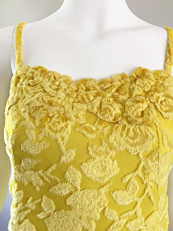 James Galanos Vintage Canary Yellow Silk + Velvet Burn Out Dress and Blouse  For Sale 2