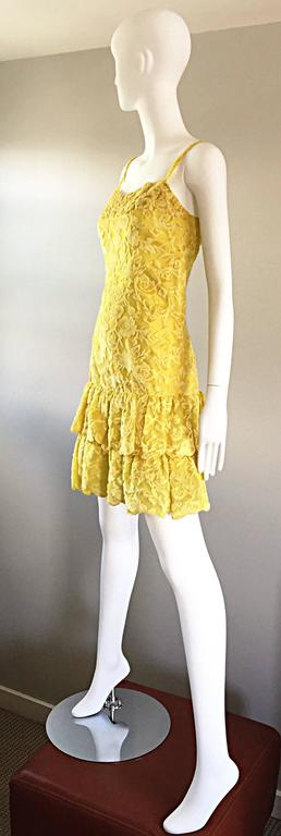 James Galanos Vintage Canary Yellow Silk + Velvet Burn Out Dress and Blouse  For Sale 3