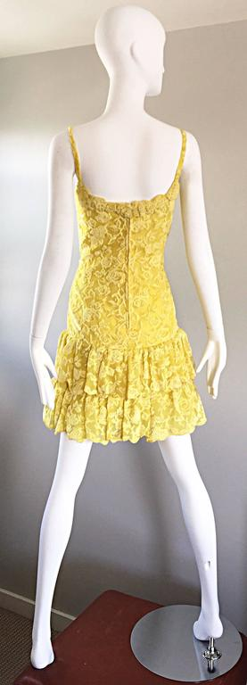 James Galanos Vintage Canary Yellow Silk + Velvet Burn Out Dress and Blouse  For Sale 4