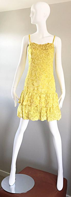 James Galanos Vintage Canary Yellow Silk + Velvet Burn Out Dress and Blouse  For Sale 5