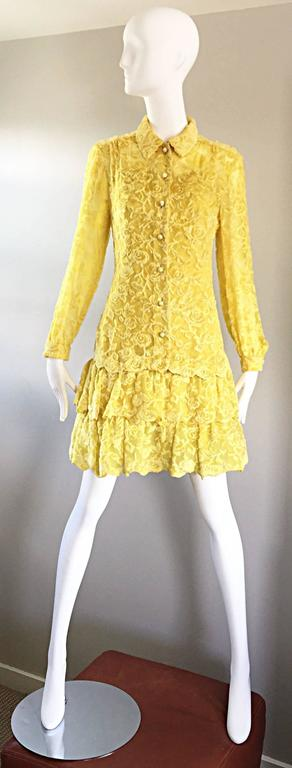 James Galanos Vintage Canary Yellow Silk + Velvet Burn Out Dress and Blouse  For Sale 6