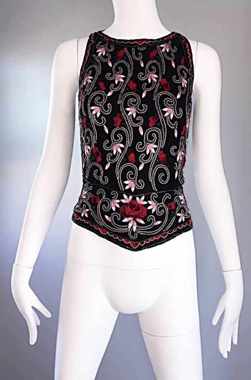 Beautiful Vintage 1990s Beaded Pink + Red Regal Iridescent Sleeveless Blouse Top 5