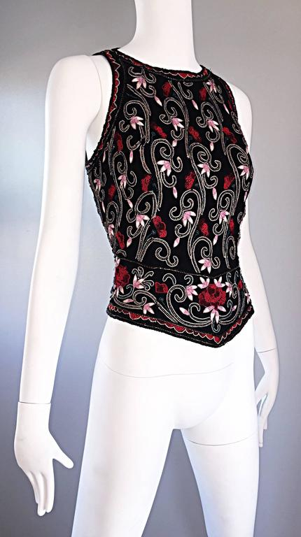 Beautiful Vintage 1990s Beaded Pink + Red Regal Iridescent Sleeveless Blouse Top 6