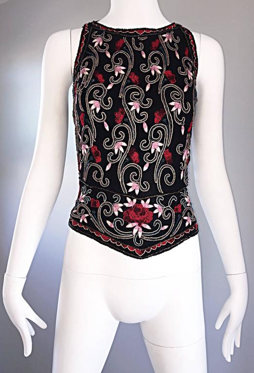 Beautiful Vintage 1990s Beaded Pink + Red Regal Iridescent Sleeveless Blouse Top 8