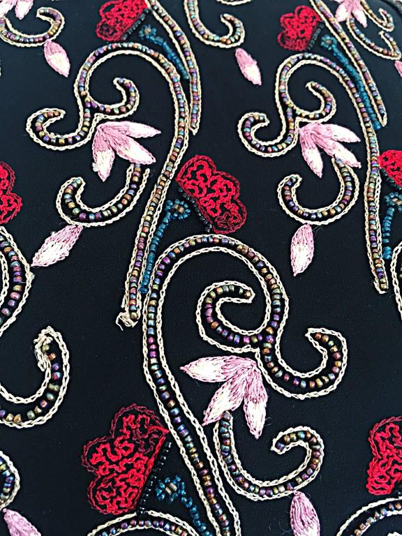 Beautiful Vintage 1990s Beaded Pink + Red Regal Iridescent Sleeveless Blouse Top 3