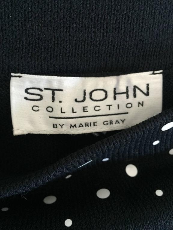 Vintage St John Marie Gray Black and White Sequin Polka Dot Ruffle 1990s Skirt 8