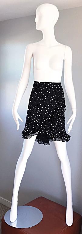 Vintage St John Marie Gray Black and White Sequin Polka Dot Ruffle 1990s Skirt 2