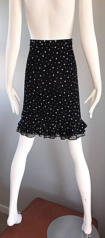 Women's Vintage St John Marie Gray Black and White Sequin Polka Dot Ruffle 1990s Skirt For Sale