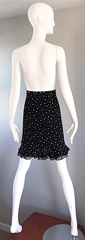 Vintage St John Marie Gray Black and White Sequin Polka Dot Ruffle 1990s Skirt For Sale 1