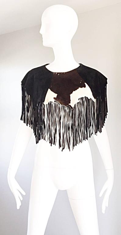 Amazing Vintage Ricky Nell Leather + Suede + Cow Hide Fringed Boho Bib Collar  2