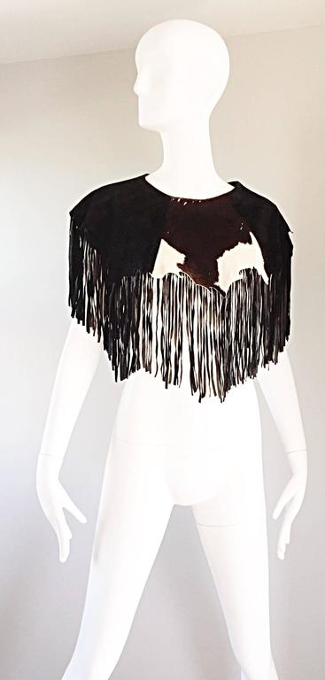 Amazing Vintage Ricky Nell Leather + Suede + Cow Hide Fringed Boho Bib Collar  7
